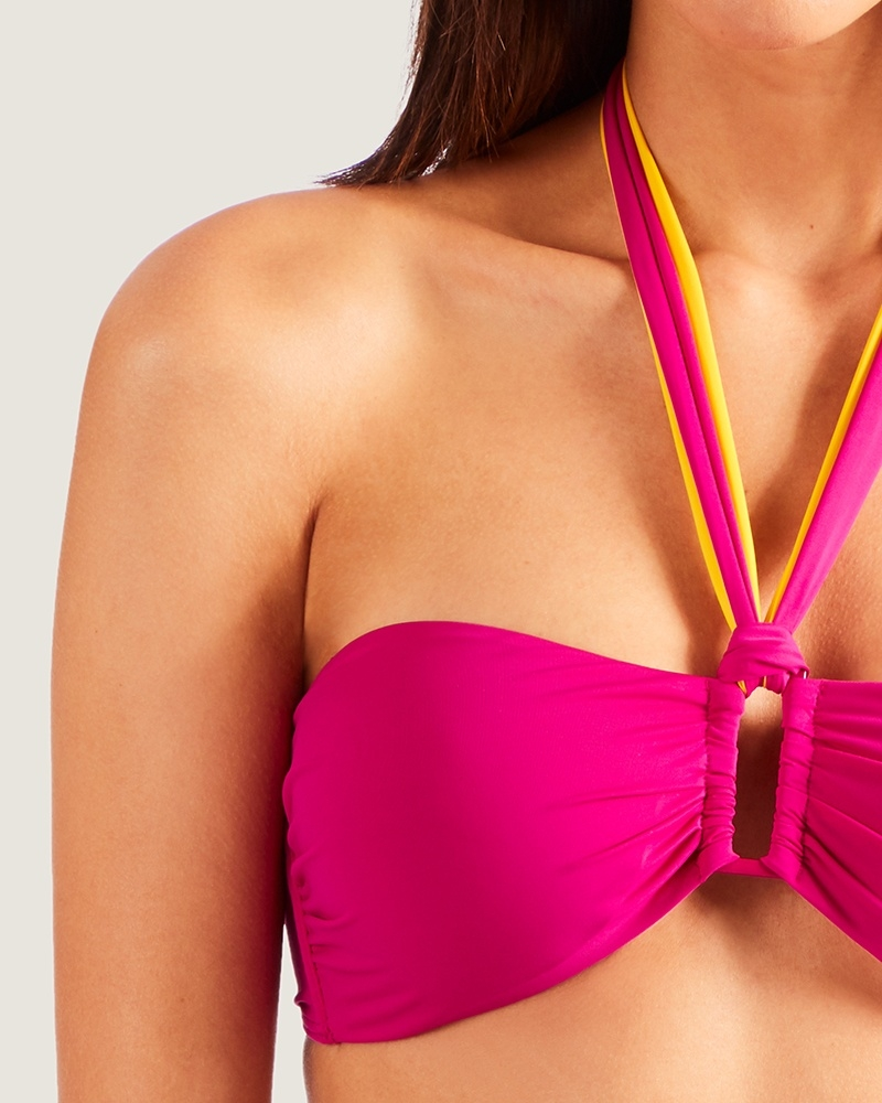 Douceur de Reve Bandeau Bikini gul og pink close up
